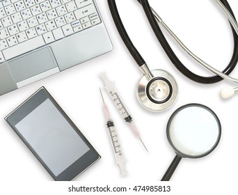 image of flat lay medical report on white desk in office
