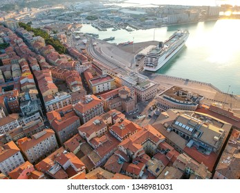 An image of a flight over  the harbor of Ancona Italy