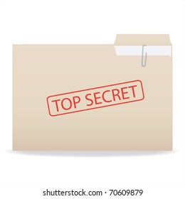 Image of a folder with a Top Secret stamp isolated on a white background.