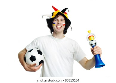 An image of football fan with ball and trumpet
