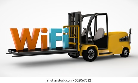 image forklift driven smartphone with Wi Fi icon on a white background, 3D rendering