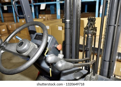 Image of forklift to put in and out baggage in warehouse