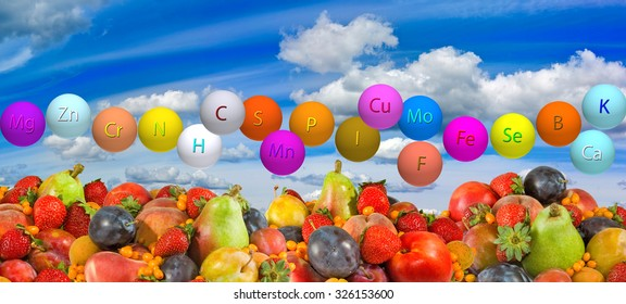image of  fresh organic fruits and berrie against the sky