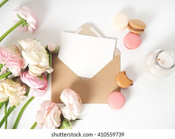 image of fresh spring pink flowers with copy space