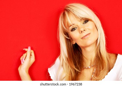 image of friendly blond over red background