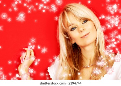 image of friendly blond over red background with rendered snowflakes