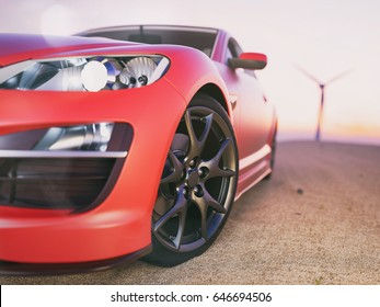 The image in front of the sports car scene behind as the sun going down with wind turbines in the back. 3D Render.