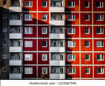 Image of front view of big building with appartements with shadows
