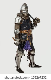Image of full length knight with his weapon