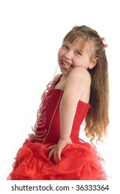 An image of a funny little girl in red dress