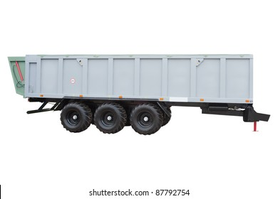 The image of a garbage trailer under the white background