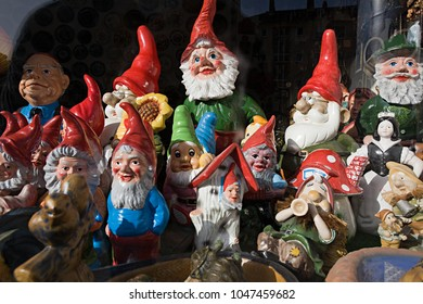 An image of Garden gnomes in a shop window
