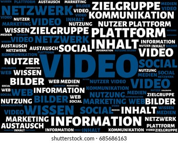 image with the german word VIDEO . series of images with german words associated with the topic SOCIAL MEDIA