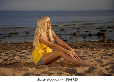 The image of the girl against the sunset