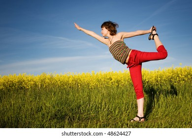 An image of a girl doing her exercises outdoors