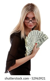 Image of a girl with a fan of dollar bills