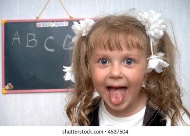 An image of girl on a first lesson at school
