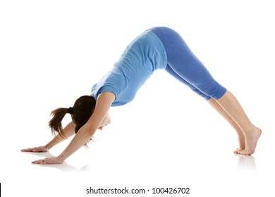Image of a girl practicing yoga on white