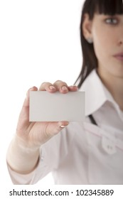 Image of a girl showing business card in her hands