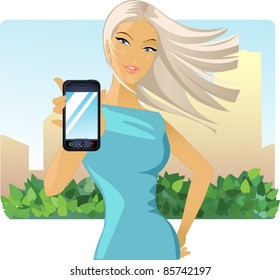 image of a girl who holds out his hand to a mobile phone