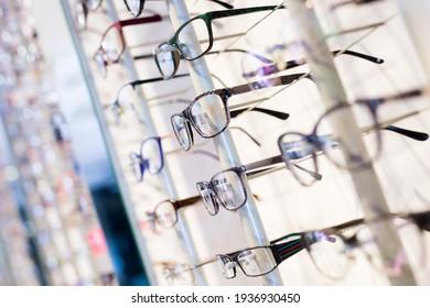 Image of glasses showcase at the modern optic shop, nobody