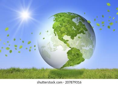 An Image of Globe,Leaf And Grassland