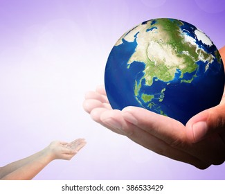 Image God created the world blurred Purple background.  Elements of this image furnished by NASA