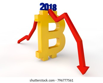 The image of the Golden symbol of bitcoin and the red arrow shows the drop in bitcoin exchange rate after 2018. The idea of the collapse of the cryptocurrency. 3D rendering