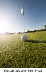 Image of a golf ball on green by flag