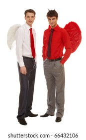Image of good and evil men looking at camera on white background