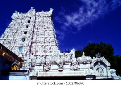 Image of the gopuram of famous Lord Shiva temple at Suchindram located in the scenic town of Kanyakumari in the Indian state of Tamil Nadu