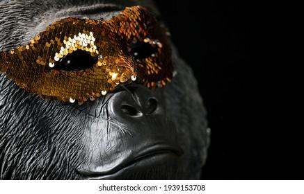 image of gorilla mask dark background