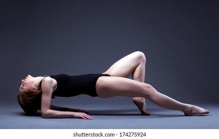 Image of graceful slim girl posing in studio