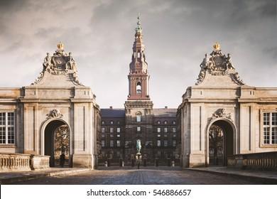 Image of the grand entry to Christiansborg castle in Copenhagen, Denmark.
