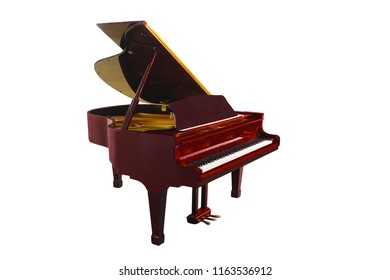 The image of grand piano under the white background