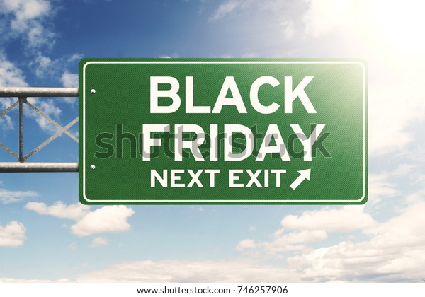 Image of green billboard with Black Friday text under clear sky