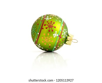 An image of a green Christmas glass ball isolated on white background