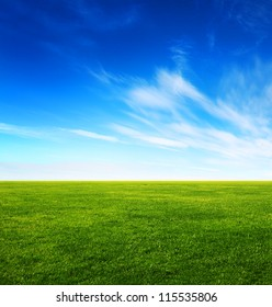 Image of green grass field and bright blue sky - Shutterstock ID 115535806