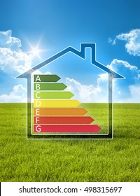 An image of a green house in the sun with energy efficiency graph
