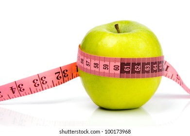 An image of a green ripe apple and a measuring tape