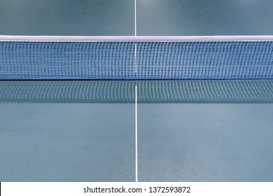 image of green table tennis table closeup