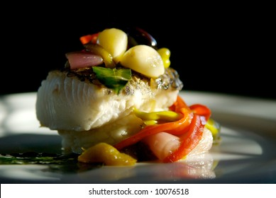 Image of grilled sea bass with vegetables