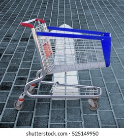 Image of grocery cart on the street. Food cart close-up.