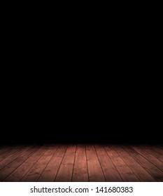 Image of grunge dark room interior with wood floor.