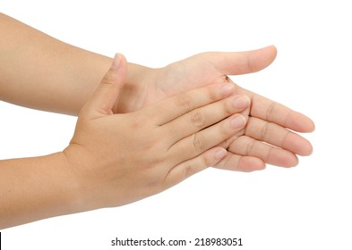 Image of hand clapping isolate on white background