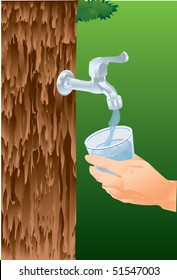 An image of a hand holding a glass under a running faucet that is attached to the trunk of the tree