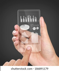 image of hands holding futuristic transparent mobile phone. business chart financial concept