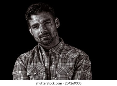 Image of a Handsome American Farmer on Black
