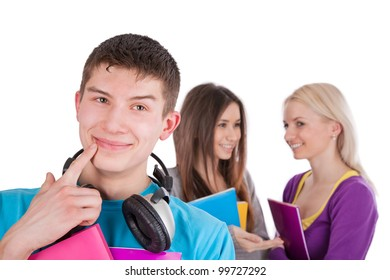 Image of handsome guy with headphones doing choice of girls