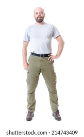 An image of a handsome man with a beard full body isolated on white